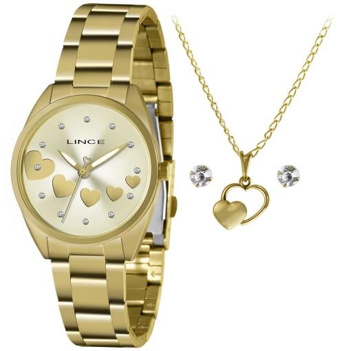 Kit Relógio Lince dourado com colar e brinco folheado
