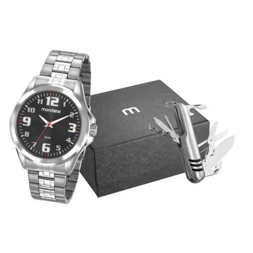 Kit relógio Mondaine masculino prata com canivete