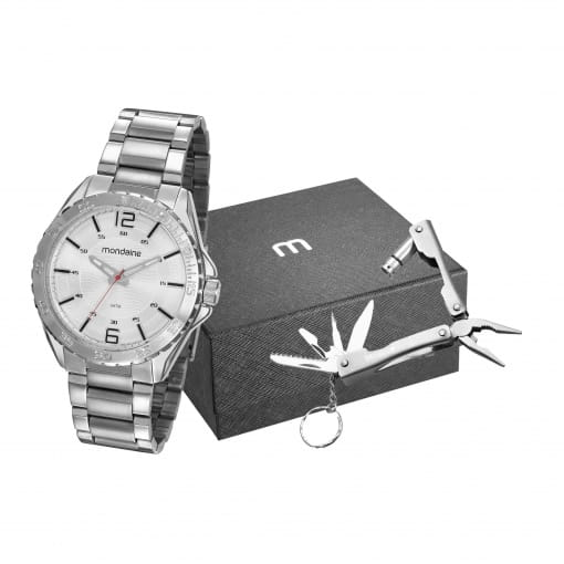 Kit relógio Mondaine masculino prata com chaveiro multiuso