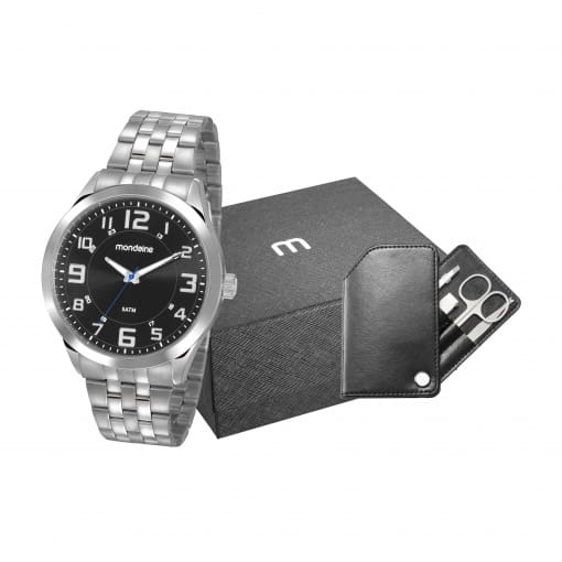 Kit relógio Mondaine prata masculino com estojo manicure