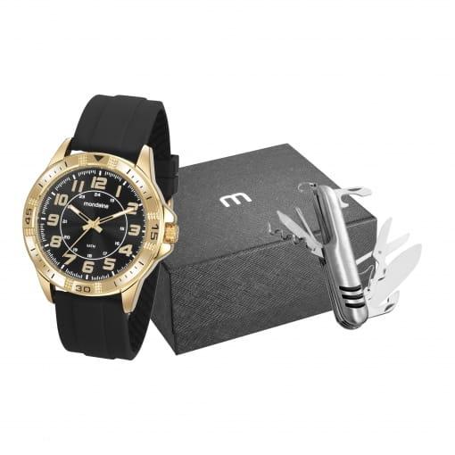 Kit relógio Mondaine masculino preto e dourado com canivete