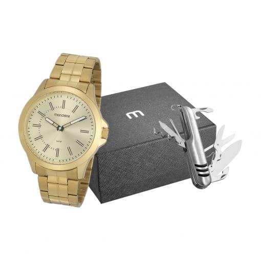 Kit relógio Mondaine masculino dourado com canivete