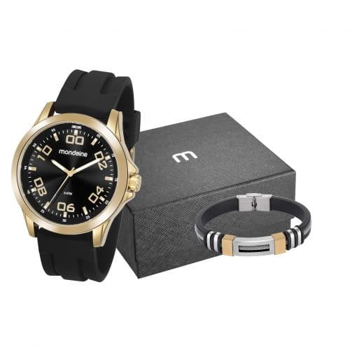 Kit relógio Mondaine masculino preto e dourado com pulseira