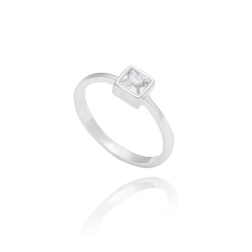 Anel prata pedra quadrada com cristal