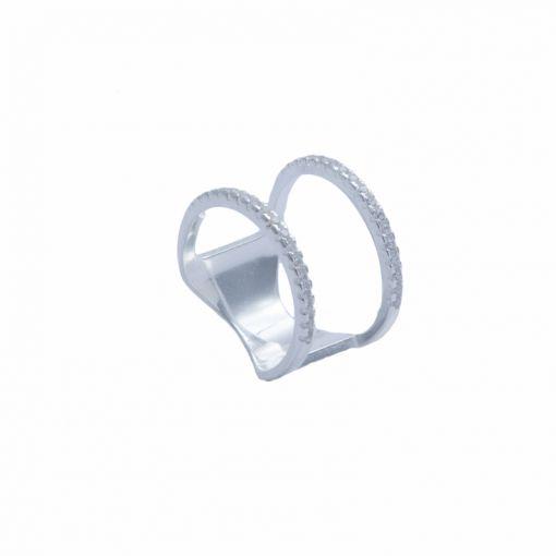 anel de prata 950 largo vazado com zircônia