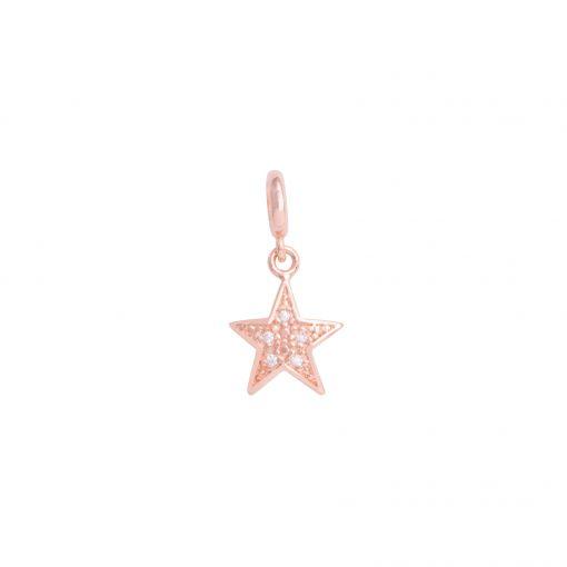 pingente estrela rose com zircônia