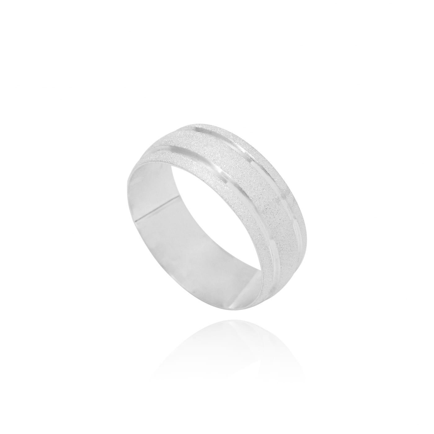 Aliança prata baulada diamantada 2 canais