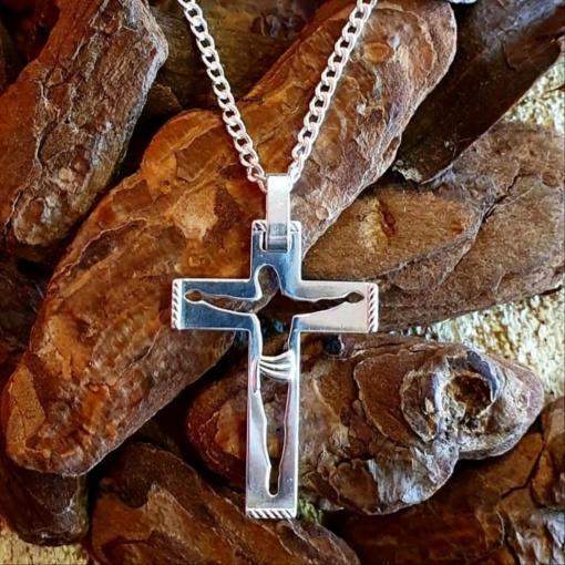 CORRENTE PRATA 925 ELO GROUMET PINGENTE CRUCIFIXO JESUS