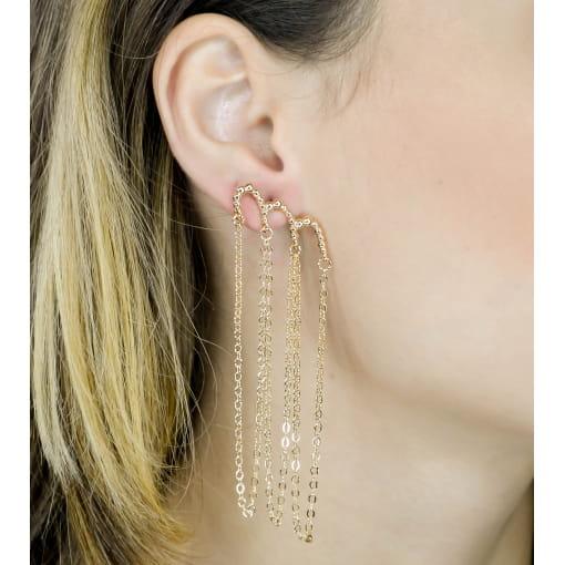 BRINCO EAR CUFF COM CORRENTE EM METAL