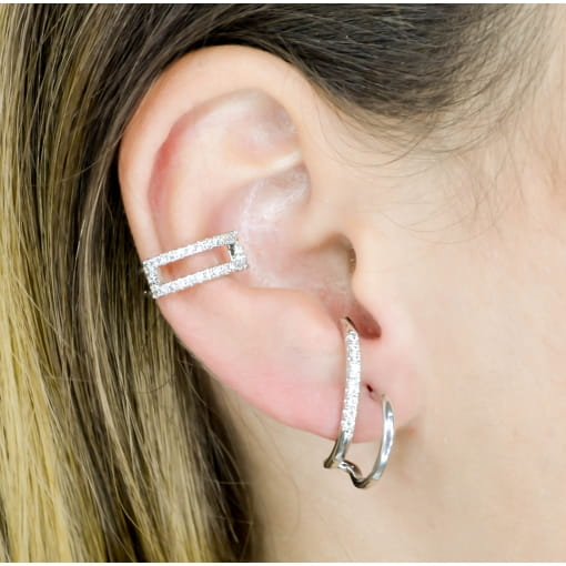 BRINCO EAR HOOK LISO E CRAVEJADO