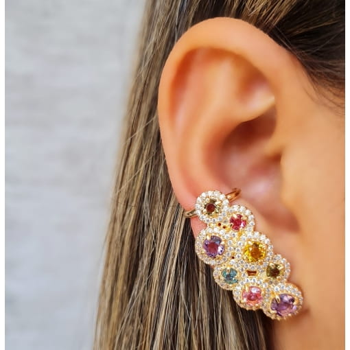 BRINCO EAR CUFF CÍRCULOS COLORS