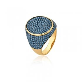 Anel Oval Cravejado com Zircônias Azuis Folheado a Ouro