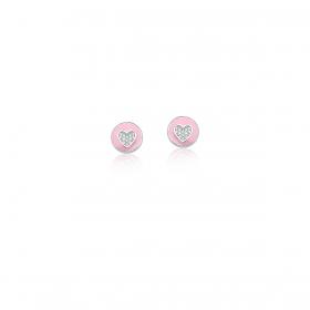 Brinco Redondo Esmaltado Rosa e Coração Branco Prata Rodinada