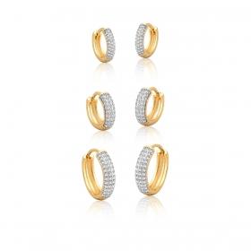 Kit Três Pares de Argolas com Zirconias Brancas Folheado a Ouro