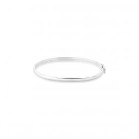 Bracelete Kids Oval de Algema Liso Prata Lisa