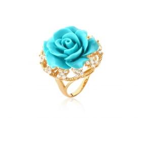 Anel Flor de Baquelite na Cor Turquesa Folheado a Ouro