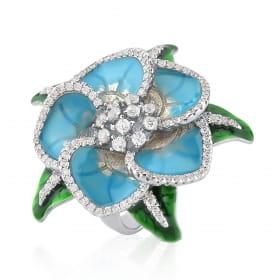 Anel Flor Esmaltado na Cor Azul Folheado a Ródio