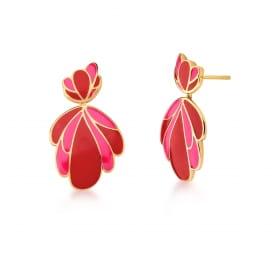 Brinco Pêndulo Esmaltado Rosa e Vermelho Banhado a Ouro