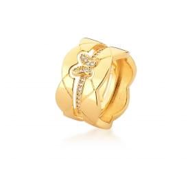 Anel Duplo Liso e com Borboleta Cravejada Banhado a Ouro