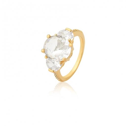 Anel com Cristal Oval Transparente Folheado a Ouro