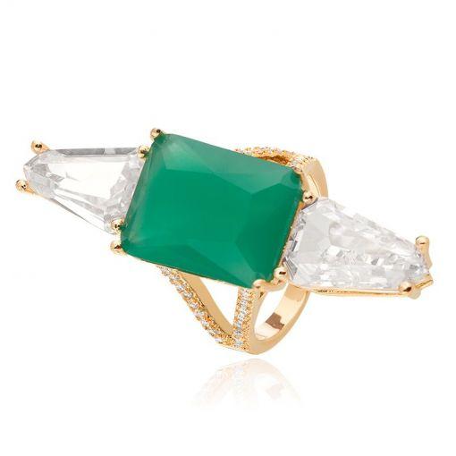 Anel com Cristal Retangular Esmeralda Leitosa Folheado a Ouro