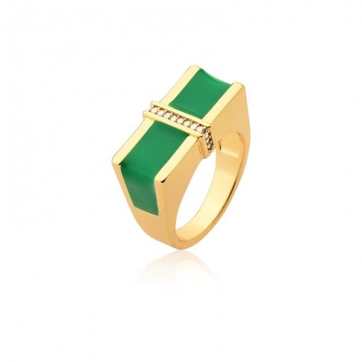 Anel Retangular Esmaltado Verde e Zircônias Folheado a Ouro