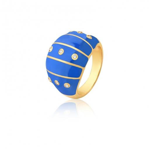 Anel Oval Esmaltado Azul e Pontos de Luz Folheado a Ouro