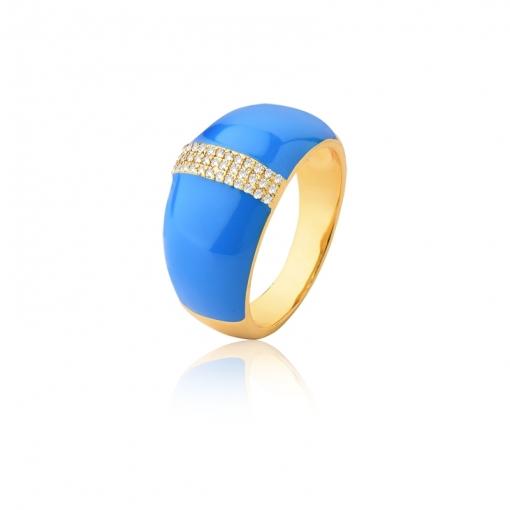 Anel Esmaltado na Cor Azul e Zircônias Brancas Folheado a Ouro