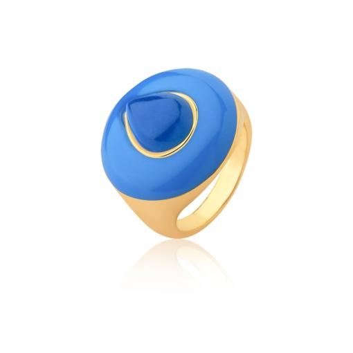 Anel Redondo com Cabochão em Gota Azul Folheado a Ouro