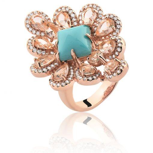Anel Flor com Cabochão Azul Turquesa Folheado a Ouro Rosê Claro