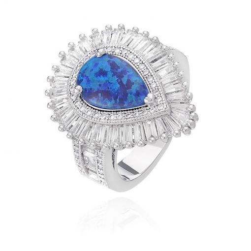 Anel Gota com Pedra Azul Opala Folheado a Ródio