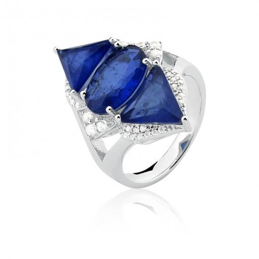 Anel com Cristal Oval/Triangular Fusion Safira Folheado a Ródio