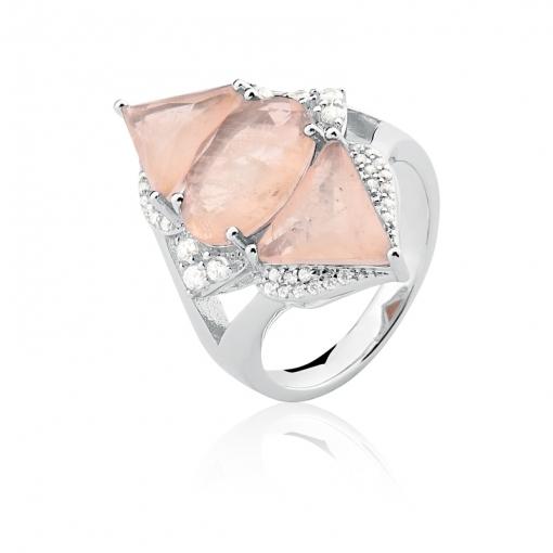 Anel com Cristal Oval/Triangular Fusion Salmão Folheado a Ródio