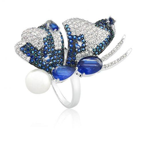 Anel Borboleta com Cristal Azul Rutilado/Perola Folheado a Ródio