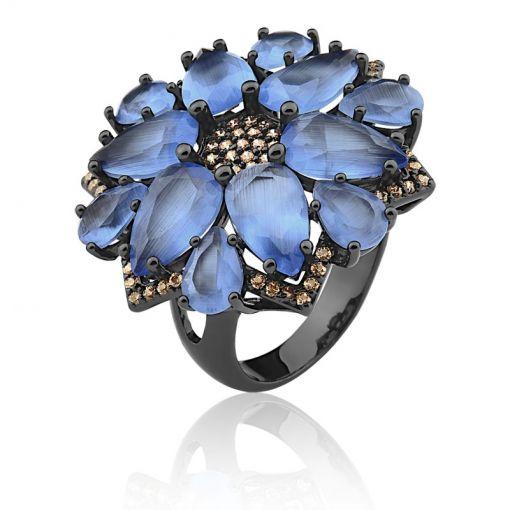 Anel Flor com Cristais na Cor Blue Folheado a Ródio Negro