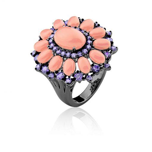 Anel Flor com Cabochões Ovais Coral Folheado a Ródio Negro