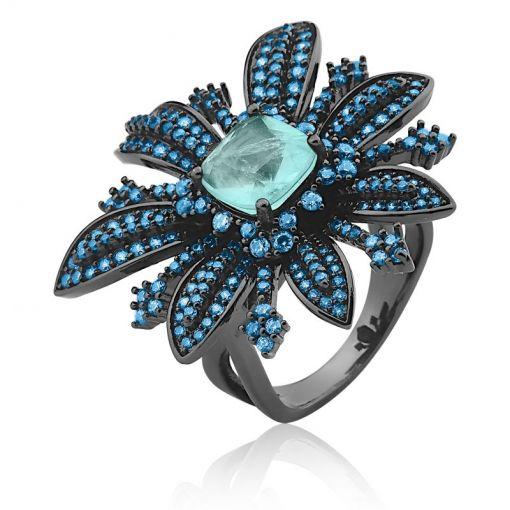 Anel Flor Cravejado com Zircônias Azuis Folheado a Ródio Negro