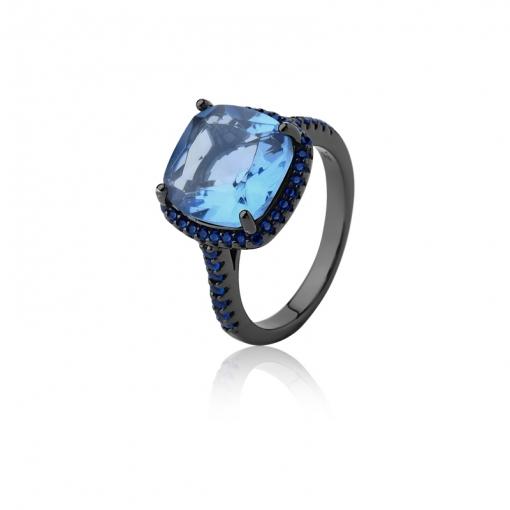Anel com Cristal Quadrado Topázio Azul Folheado a Ródio Negro