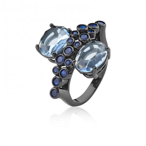 Anel com Cristal Topázio Azul Folheado a Ródio Negro.