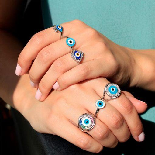 Anel com Olho Grego Esmaltado na Cor Azul em Prata Rodinada