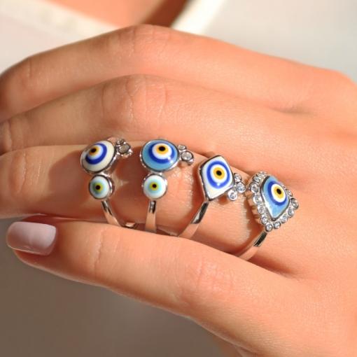 Anel com Dois Olhos Gregos Esmaltados Prata Rodinada