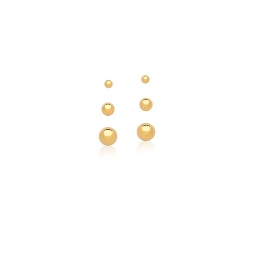 Kit Três Pares de Brinco Bolas Lisas Banhado a Ouro
