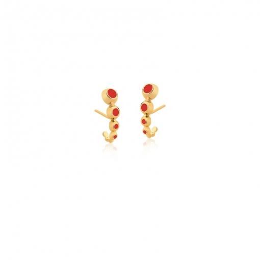 Brinco Ear Hook Esmaltado na Cor Vermelha Folheado a Ouro