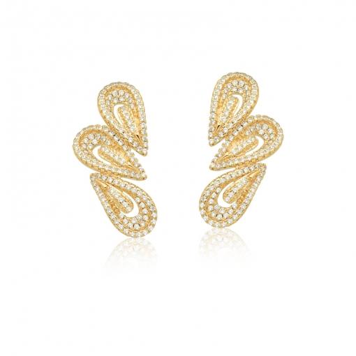 Brinco Ear Cuff Gotas com Zircônias Brancas Folheado a Ouro