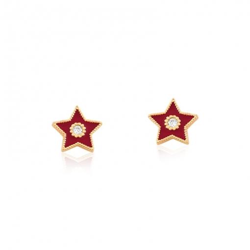 Brinco Segundo Furo Estrela Esmaltado Vermelha Folheado a Ouro