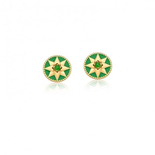 Brinco Redondo Esmaltado Verde com Estrela Folheado a Ouro