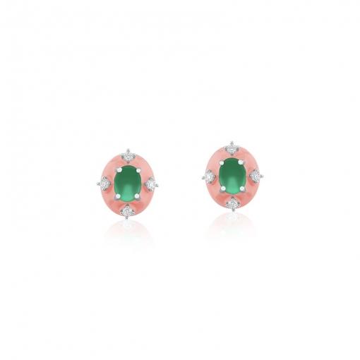 Brinco Oval Esmaltado Rosa e Pontos de Luz Folheado a Ródio