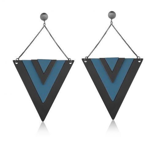 Brinco Pêndulo Triângulo Cor Preto e Azul Folheado a Ródio Negro