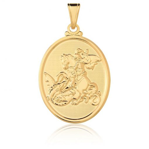 Pingente Oval com Imagem de São Jorge Folheado a Ouro