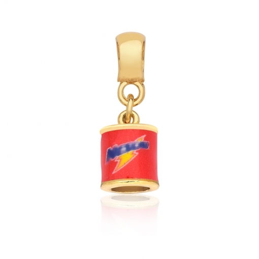 Pingente Berloque de Achocolatado/Vermelho Folheado a Ouro